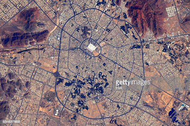 This handout image supplied by the European Space Agency shows the city of Medina Saudi Arabia in an image taken by ESA astronaut Tim Peake from the...