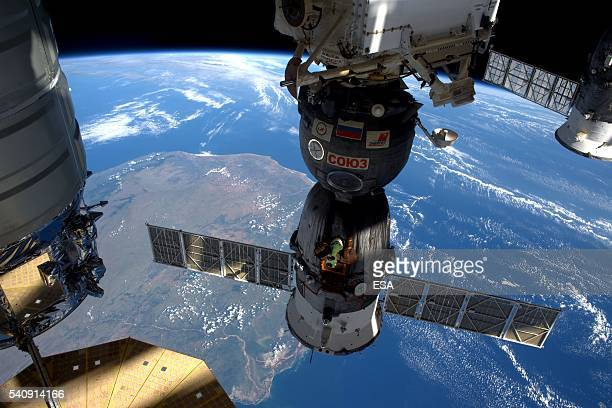 This handout image supplied by the European Space Agency shows the Soyuz TMA19M spacecraft attached to the International Space Station on June 16...