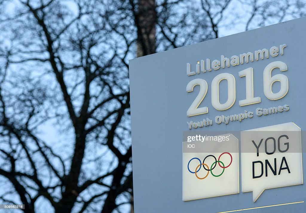This handout image supplied by the IOC shows a sign in the town centre of Lillehammer as dusk falls with three days to go before the 2016 Winter Youth Olympic Games on February 9, 2016 in Lillehammer, Norway.