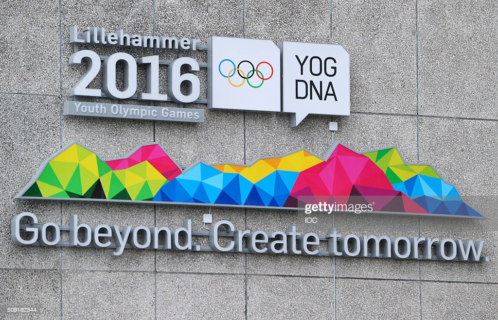 This handout image supplied by the IOC shows a sign in the town centre of Lillehammer with three days to go before the 2016 Winter Youth Olympic Games on February 9, 2016 in Lillehammer, Norway.