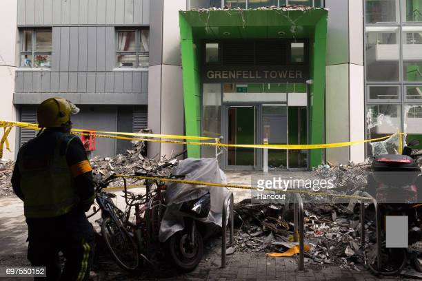 This handout image supplied by the London Metropolitan Police Service on June 18 2017 shows the entrance to Grenfell Tower in West London England 30...