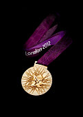 This handout image supplied by The London Organising Committee of the Olympic and Paralympic Games shows the medals that will be awarded in the...