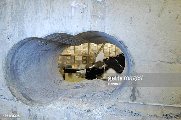 LONDON ENGLAND UNDATED This handout image supplied by the Metropolitan Police shows a view of the hole drilled in the vault wall at Hatton Garden...