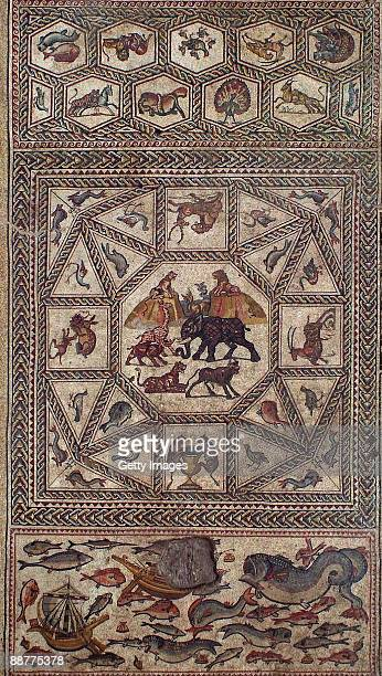 This handout photo made available by the Israeli Antiquities Authority shows an aerial view of the main section of an ancient Roman mosaic which was...