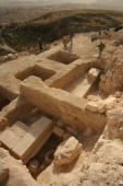 This handout photo provided by the Hebrew University of Jerusalem shows the base of Herod's tomb on the northeastern slope of the manmade hilltop...