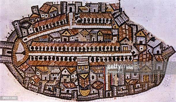 This handout photo provided by the Israeli Antiquities Authority shows the famous Madaba map an ancient Byzantineera mosaic map from in a church in...