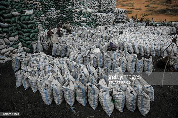 This handout photograph released by the African UnionUnited Nations Information Support Team on October 2 2012 shows sacks of charcoal by the...