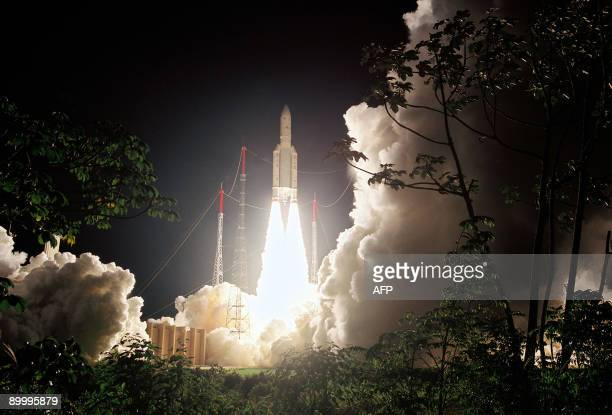 This handout picture released by European Space Agency on August 21 2009 shows the launching of Europe�s Spaceport Ariane 5 rocket in Kourou French...