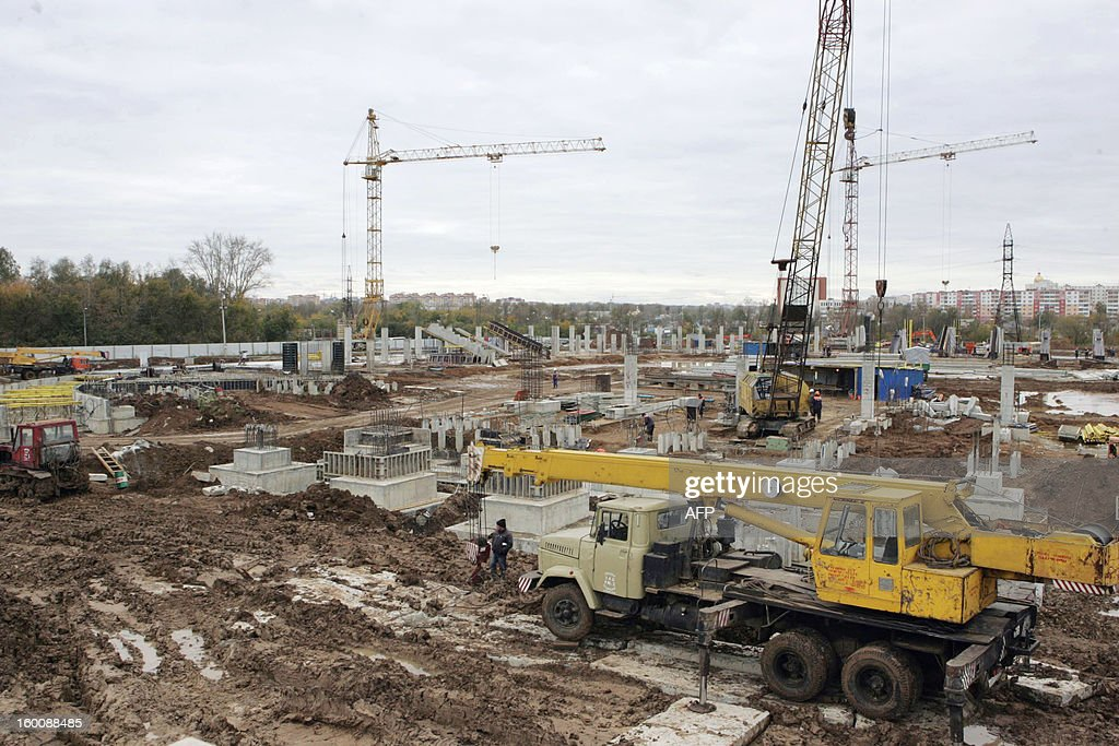 This handout picture released on January 26, 2013 by FC MORDOVIA shows a construction site of a new football satdium of FC Saransk taken at the end of 2012 in Saransk, the capital of Russia's republic of Mordovia. The city of 300,000 situated in the Volga river basin was world football ruling body FIFA's most unexpected choice when the list of the 2018 World Cup host cities was announced by the organisers in September 2012. AFP PHOTO / FC MORDOVIA RESTRICTED TO EDITORIAL USE - MANDATORY CREDIT 'AFP PHOTO / FC MORDOVIA' - NO