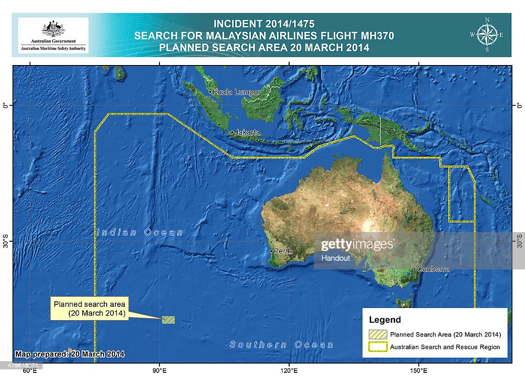 OCEAN - This handout Satellite image made available by the AMSA (Australian Maritime Safety Authority) shows a map of the planned search area for missing Malaysian Airlines Flight MH370 on March 20, 2014. Two objects possibly connected to the search for the passenger liner, missing for nearly two weeks after disappearing on a flight from Kuala Lumpur, Malaysia to Beijing, have been spotted in the southern Indian Ocean, according to published reports quoting Australian Prime Minister Tony Abbott.