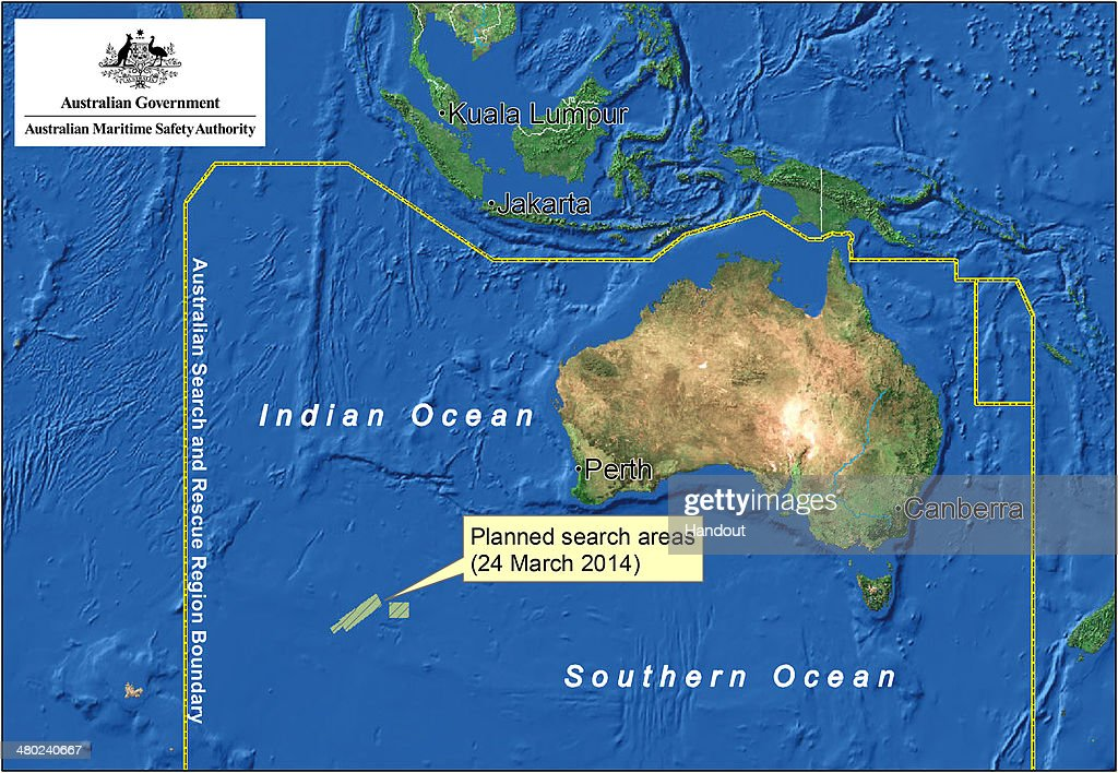 OCEAN - This handout Satellite image made available by the AMSA (Australian Maritime Safety Authority) shows a map of the planned search area for missing Malaysian Airlines Flight MH370 on March 24, 2014. French authorities reported a satellite sighting of objects in the southern Indian Ocean where China and Australia have also reported sighting potential debris from missing flight MH370. Ten aircraft from Australia, China, the United States, New Zealand and Japan will engage in the search today, approximately 2500 kilometres south-west of Perth. The airliner went missing nearly two weeks ago carrying 239 passengers and crew on route from Kuala Lumpur to Beijing.