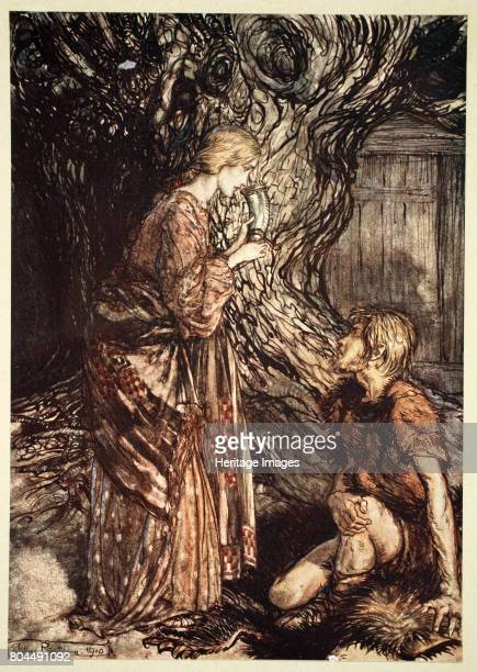This healing and honeyed draught of Mead deign to accept from me' 1910 Illustration from The Rhinegold and the Valkyrie Siegmund is running away and...