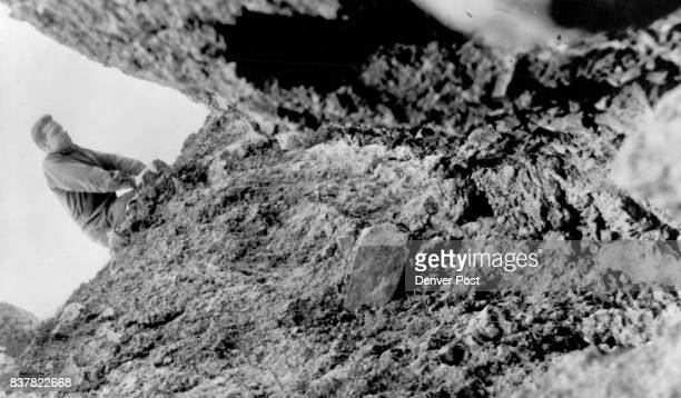 This huge crack near the top of the slide area is seven feet deep and four feet wide Leaning away from the hill and toward the Denver and Rio Grande...