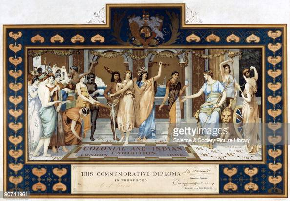 This illustration for a commemorative diploma shows subjects of the colonies and India offering gifts to Britannia against a classicallly inspired...