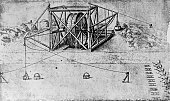 This illustration shows a large crane to remove earth from a canal bed which is worked by large treadwheels The image is a wash drawing by Leonardo...