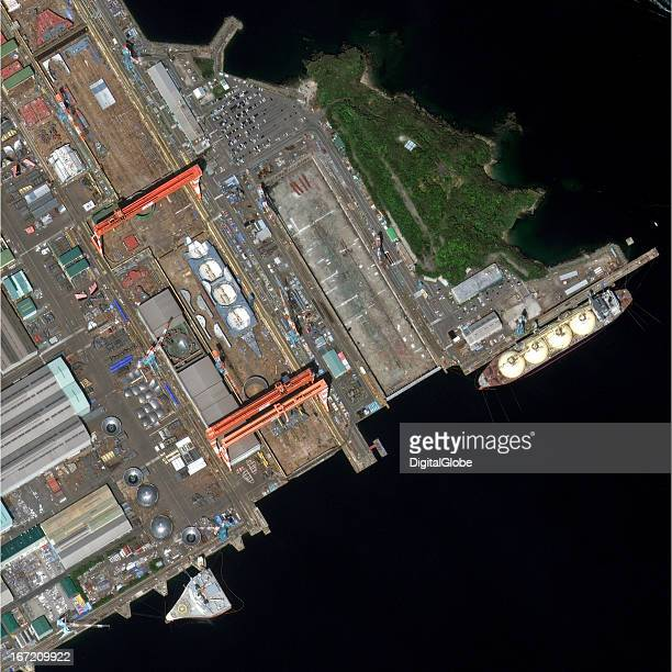 This image acquired on April 13 shows a section of the Koyagi Plant the largest of NSMW's four plants with a onekilometer long dry dock suitable for...
