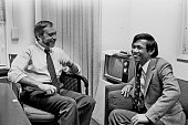 This image courtesy of The New York Times shows New York Times correspondent Sydney Schanberg talking with colleague Dith Pran in The Times office in...