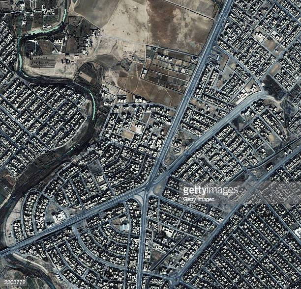 This image from an IKONOS satellite shows an aerial view of the AlFalah neighborhood November 15 2000 in northeast Mosul Iraq The image includes the...