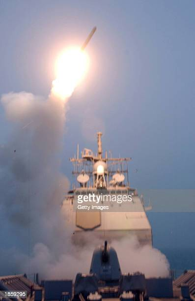 This image from the US Department of Defense shows a Tomahawk missile launching against Iraq on March 20 2003 at sea aboard the USS Bunker Hill...
