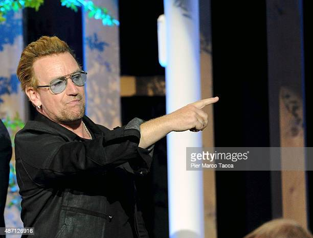 this image has been converted on black and white Bono Vox attends the event 'It begins with me How the world can end hunger in our lifetime'...