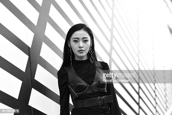 This image has been converted to Black and White Crystal Zhang attends the Louis Vuitton show as part of the Paris Fashion Week Womenswear...