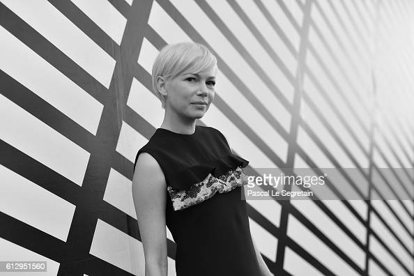 This image has been converted to Black and White Michelle Williams attends the Louis Vuitton show as part of the Paris Fashion Week Womenswear...