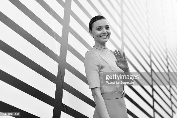 This image has been converted to Black and White Miranda Kerr attends the Louis Vuitton show as part of the Paris Fashion Week Womenswear...