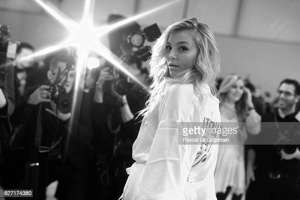 This Image has been converted to Black and White Rachel Hilbert poses backstage prior to the Victoria's Secret Fashion Show on November 30 2016 in...
