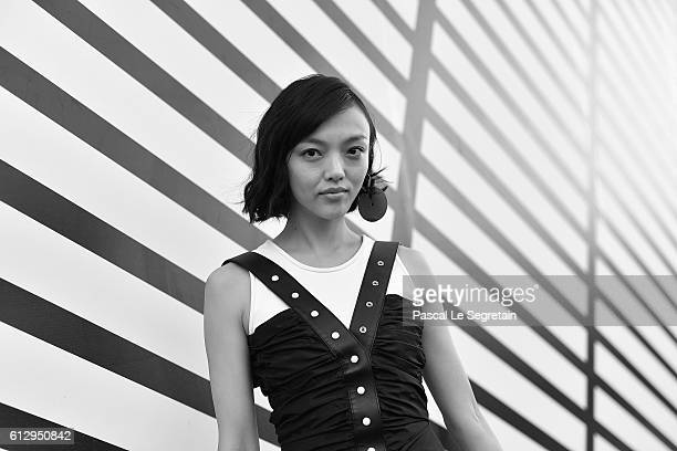 This image has been converted to Black and White Rila Fukushima attends the Louis Vuitton show as part of the Paris Fashion Week Womenswear...
