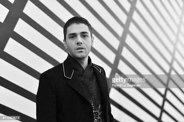 This image has been converted to Black and White Xavier Dolan attends the Louis Vuitton show as part of the Paris Fashion Week Womenswear...
