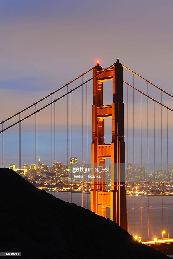 CONTENT] This image has been shot from Marin Headlands, Sausalito. This was shot just after sunset. The Embarcadero Center Christmas Holiday Lights are visible too. San Francisco Golden Gate Bridge North Tower