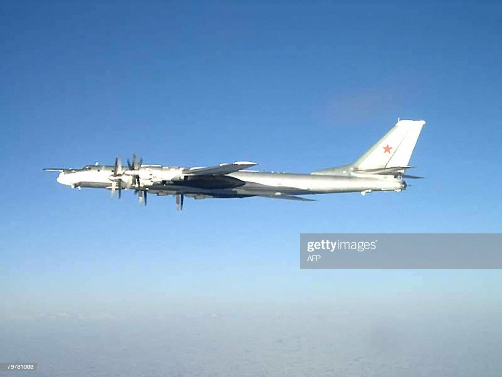 This image released by the US Navy on February 12 2008 shows one of two Russian Tu95 Bear long rang bomber aircraft which neared the US Navy aircraft...