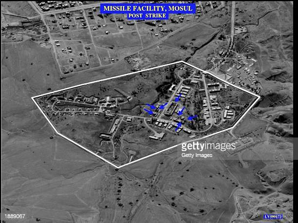 This image showing a missile facility in Mosul Iraq after a US airstrike was released by the US Department of Defense March 31 2003 in Washington DC...