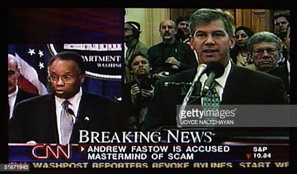 This image shows a television broadcast at the US Justice Department in Washington DC 02 October 2002 of Deputy Attorney General Larry Thompson...