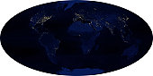 In this image, oceans appear black, landmasses appear in varying shades of blue, and lights appear yellow-white. Because these images focus on human impact, they do not include other (natural) light s
