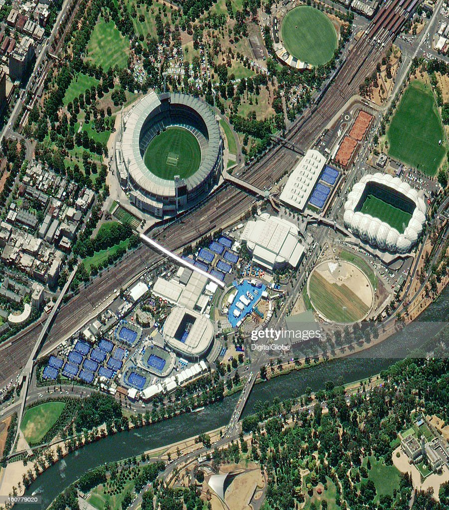 This image shows Melbourne Park, originally called Flinders Park, which was constructed in 1988 specifically for the Australian Open. This year, Serbia's Novak Djokovic became the first man in the Open era to win three consecutive Australian titles when he beat Andy Murray of Scotland. Defending champion Victoria Azarenka from Belarus won the women's singles final over China's Li Na in a three-set match that lasted two hours and 40 minutes.