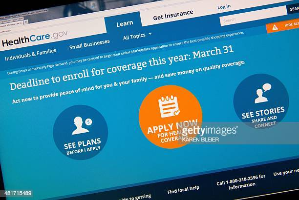 This image taken March 31 2014 in Washington DC shows the home page for the HealthCaregov internet site Today is the deadline day for uninsured...