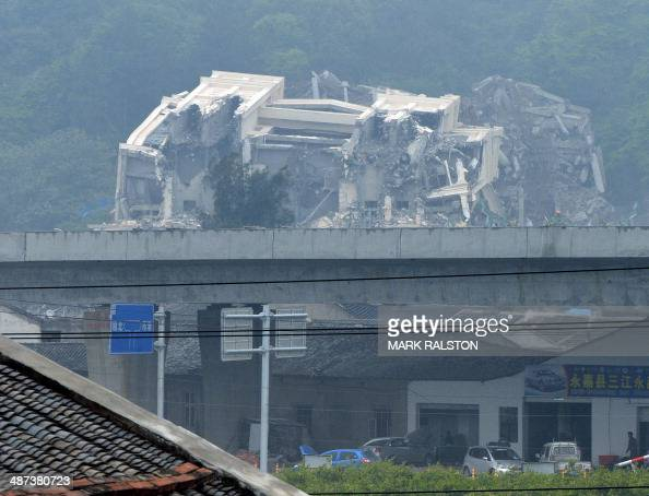 This image taken on April 30 2014 shows a Christian church in the town of Oubei outside the city of Wenzhou that Chinese authorities have begun...
