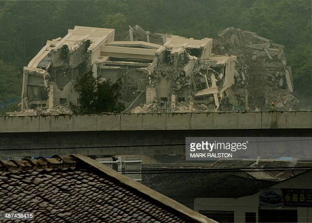 This image taken on April 30 2014 shows a Christian church in the town of Oubei outside the city of Wenzhou that Chinese authorities had begun...