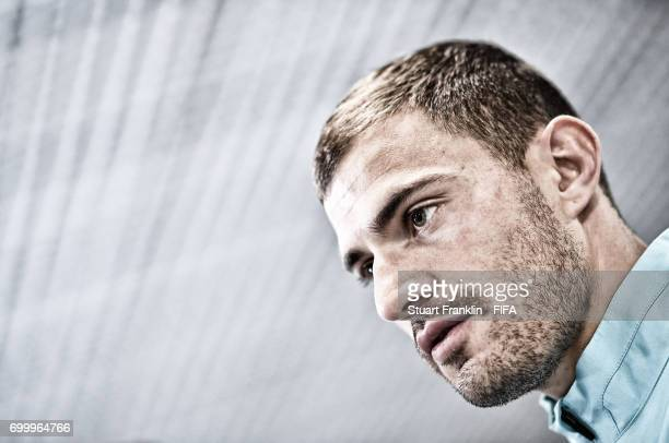 NOTE This image was processed using digital filters James Troisi of Autralia talks with the media after the FIFA Confederation Cup Group B match...