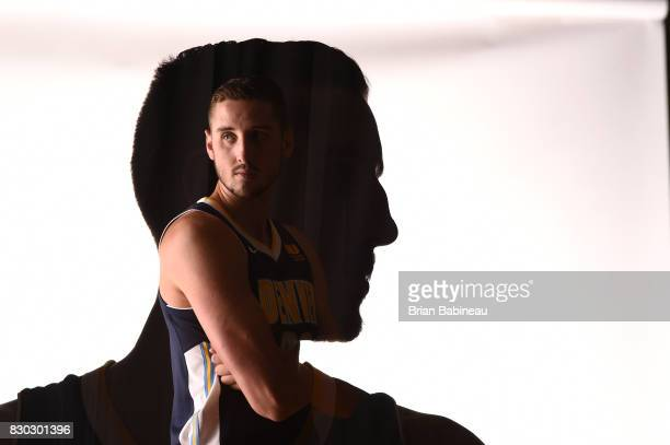 This image was shot with double exposure Tyler Lydon of the Denver Nuggets poses for a photo during the 2017 NBA Rookie Photo Shoot at MSG training...