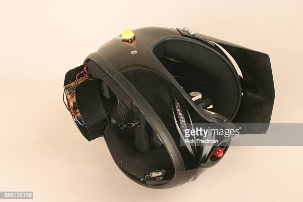 This interactive bicycle helmet contains directional signals that trigger with a nod of the head and can allow a rider to turn on a horn by yelling...