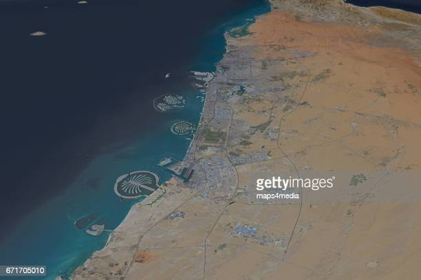 This is a 3d render of Dubai in the United Arab Emirates using satellite imagery from April 4th 2017
