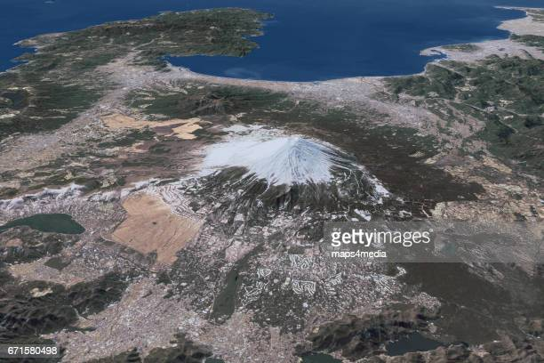 This is a 3d rendered image of Mount Fuji in Japan using satellite imagery taken on February 7th 2017