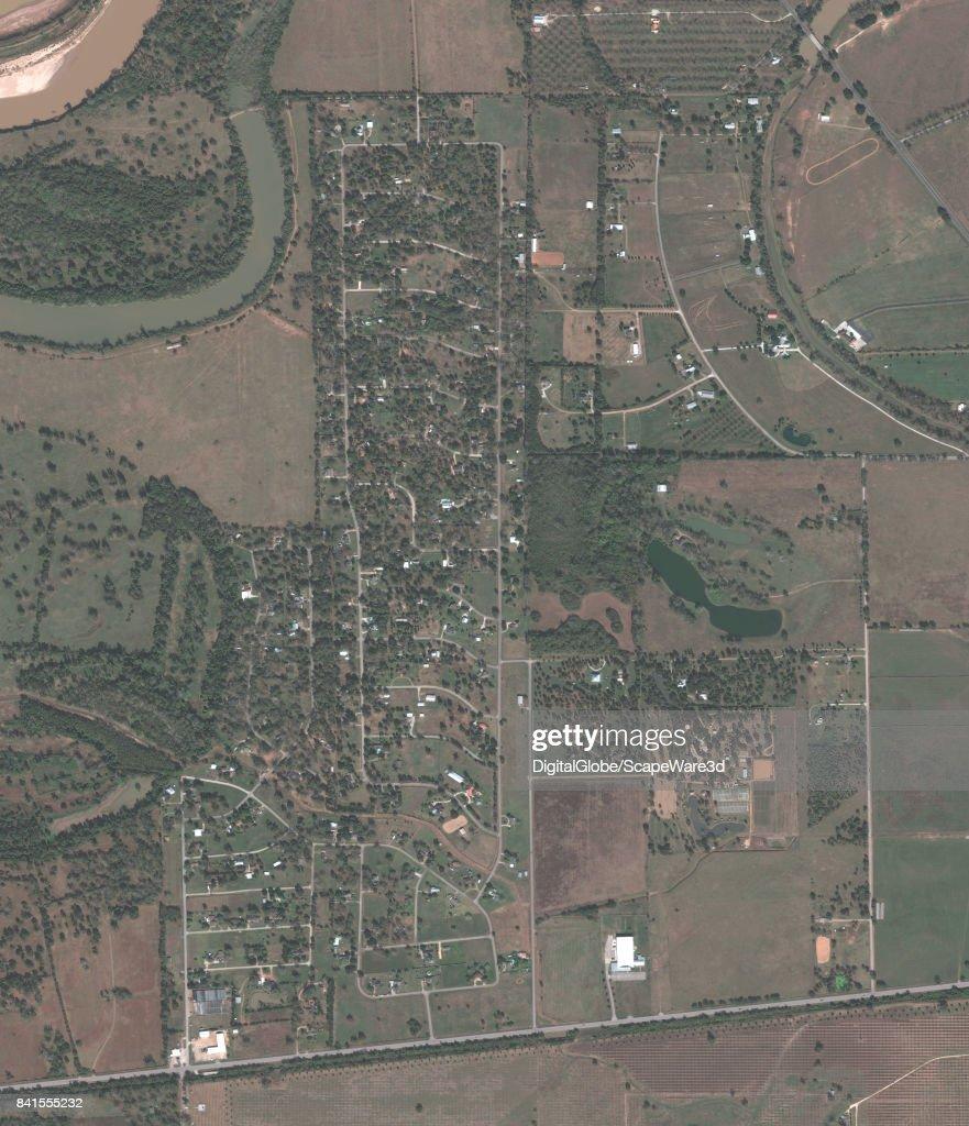 This is a 'before' DigitalGlobe satellite imagery of a neighborhood in Simonton, Texas -- before Hurricane Harvery.