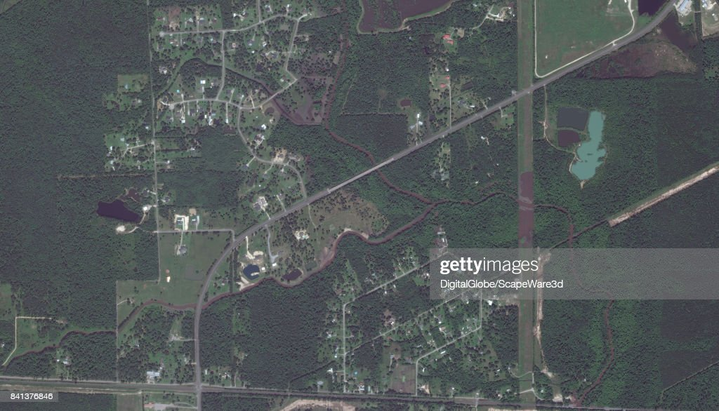 This is a 'before' DigitalGlobe satellite imagery of a neighborhood east of Beaumont, Texas -- before Hurricane Harvery.
