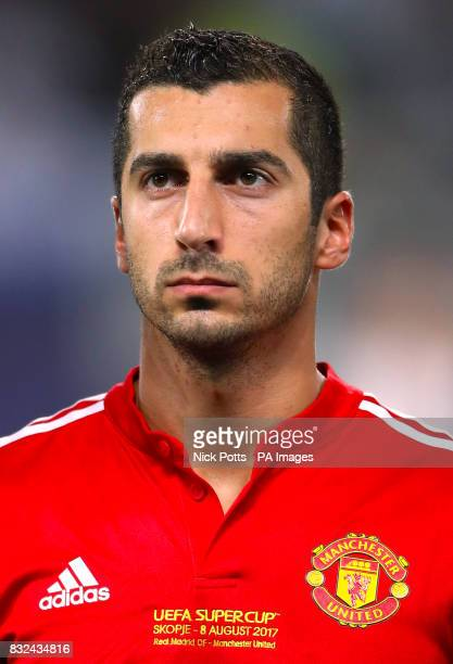 This is a better crop live crop through the words on shirt Manchester United's Henrikh Mkhitaryan during the UEFA Super Cup match at the Philip II...