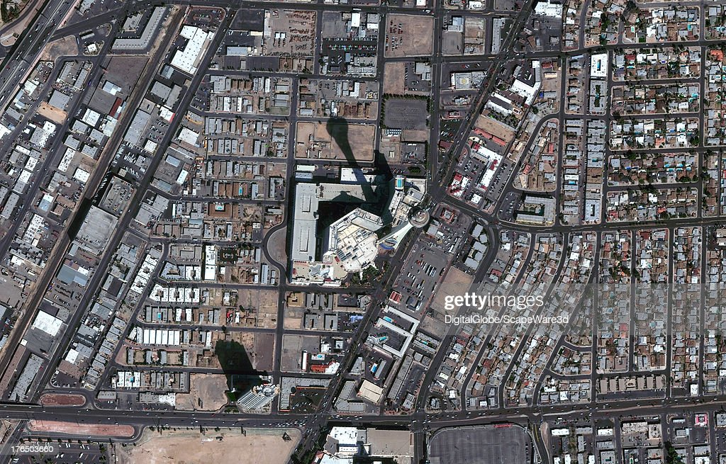 This is a DigitalGlobe Satellite Image of the Stratosphere Hotel and Casino captured on February 25th, 2010.