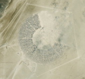 This is a DigitalGlobe satellite image 'overview' of the Burning Man Festival in Black Rock City Nevada Imagery collected on August 29th 2013