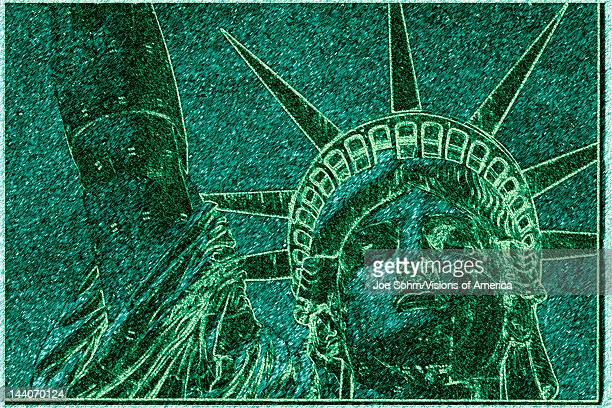 This is a digitally altered image of the Statue of Liberty The image is shaded in green much the same color as the actual statue This shows her head...